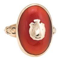 Antique Victorian Carnelian Ring 14 Karat Yellow Gold Oval Crest Jewelry Vintage Sz 6