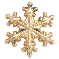 1979 Gorham Snowflake Pendant Charm Vintage 14 Karat Yellow Gold Estate Jewelry