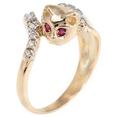 Vintage Kitty Cat Ring 14 Karat Yellow Gold Diamond Ruby Eyes Animal Jewelry Sz 5.5