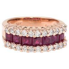 Vintage Ruby Diamond Band 14 Karat Rose Gold Ring Sz 5 Alternative Wedding Jewelry