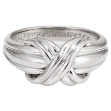 Vintage Tiffany & Co 1990 Knot Ring 18 Karat White Gold Sz 6 Signed Fine Jewelry