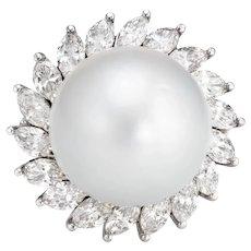 15.5mm Tahitian South Sea Pearl Diamond Ring Large Vintage 14 Karat White Gold 4.75