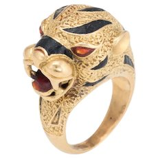 Vintage Bengal Tiger Ring 18 Karat Yellow Gold Enamel Animal Jewelry Sz 4.5 Estate