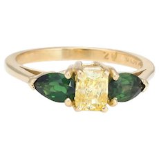 Vintage Yellow Diamond Green Tourmaline Three Stone Ring 18 Karat Gold Sz 6 Estate