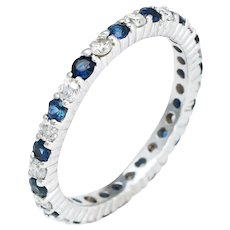 Diamond Blue Sapphire Eternity Ring 5.75 Vintage 14 Karat White Gold Estate Jewelry