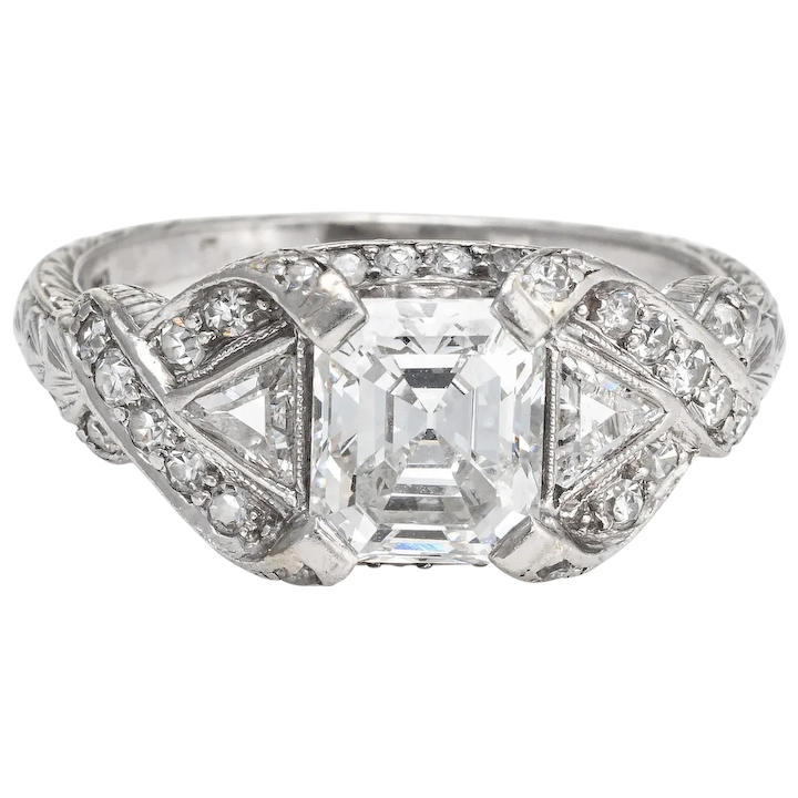 1759220f2 Antique Deco Diamond Ring Platinum 1.33ct GIA Vintage Fine Jewelry : Sophie  Jane | Ruby Lane