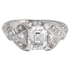 Antique Deco Diamond Ring Platinum 1.33ct GIA Vintage Fine Jewelry Bridal 5.25