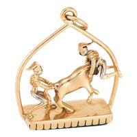 Vintage Matador Bull Fighting Charm 18 Karat Yellow Gold Chrysoprase Estate Jewelry