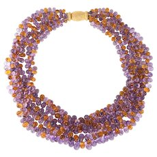 Gianmaria Buccellati Torsade Necklace Amethyst Citrine 18 Karat Gold Gemstone