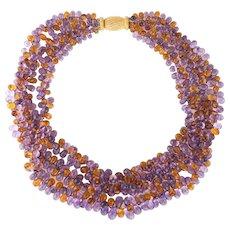Gianmaria Buccellati Torsade Necklace Amethyst Citrine 18 Karat Gold Gemstone Vintage
