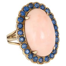 Angel Skin Coral Sapphire Ring Vintage 14 Karat Yellow Gold Oval Cocktail Jewelry 7