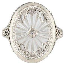 Antique Deco Diamond Camphor Glass Ring Filigree Oval Vintage Fine Jewelry 6.25