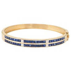 Sapphire Diamond Bangle Bracelet Vintage 18 Karat Yellow Gold Estate Fine Jewelry