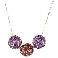 "Garnet Amethyst 3 Orb Slide Necklace 14 Karat Yellow Gold Ball Estate Jewelry 18"""