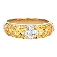 Yellow Sapphire Diamond Band Estate 18 Karat Gold Stacking Ring Fine Vintage Jewelry