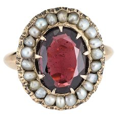 Antique Deco Garnet Natural Seed Pearl Ring Vintage 14 Karat Yellow Gold Pinky