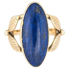 Lapis Lazuli Ring Vintage 14 Karat Gold Cocktail Leaf Design Large Oval Jewelry