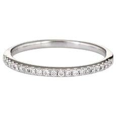 Estate Micro Pave Diamond Band 14 Karat White Gold Stacking Ring Jewelry Sz 6 1/2