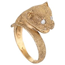 Leopard Cat Ring Vintage 14 Karat Yellow Gold Diamond Eyes Fine Estate Jewelry 6.75