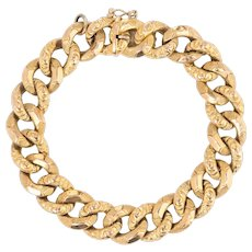 """Antique Victorian French Bracelet 18 Karat Yellow Gold Large Curb Links 8"""" Jewelry"""