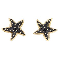 Hidalgo Starfish Earrings Black Enamel 18 Karat Yellow Gold Large Estate Jewelry