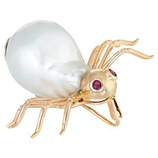 Vintage Spider Brooch Pendant 14 Karat Yellow Gold Baroque Pearl Ruby Eyes Jewelry