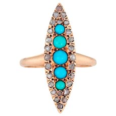 Antique Victorian Navette Ring Persian Turquoise Rose Cut Diamond 10 Karat Gold 5.25