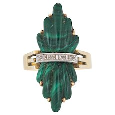 Vintage 70s Fluted Malachite Diamond Ring 14 Karat Yellow Gold Estate Fine Jewelry