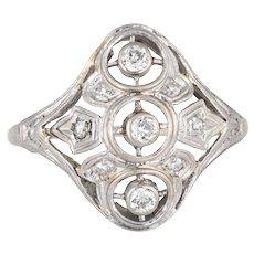 Antique Deco 3 Diamond Ring 14 Karat White Gold Sz 8 Vintage Fine Jewelry Shield