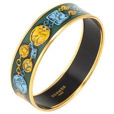 Hermes Enamel Bracelet Wide 65 PM Equestrian Horse Pattern Green Gold Turquoise