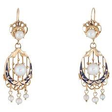 Vintage Drop Earrings Cultured Pearls Enamel 14 Karat Yellow Gold Estate Jewelry