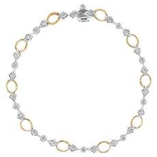 """Diamond Tennis Bracelet Two Tone 14 Karat White Yellow Gold Estate Fine Jewelry 7"""""""