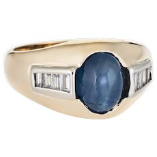 Vintage Natural Sapphire Cabochon Diamond Ring 14 Karat Yellow Gold Mens Jewelry 7