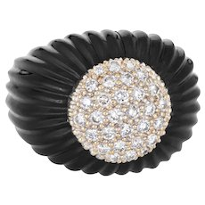 Fluted Onyx Diamond Ring Vintage 14 Karat Yellow Gold Domed Estate Fine Jewelry 6.75