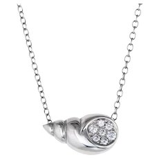 Tiffany & Co Diamond Shell Necklace 18 Karat White Gold Estate Fine Jewelry Pre Owned