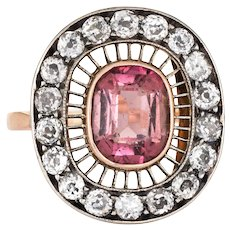 Antique Edwardian Ring Pink Tourmaline Diamond Oval Cocktail 14 Karat Gold Vintage
