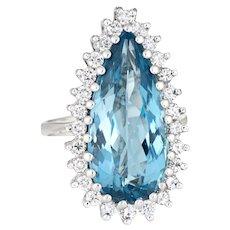 Pear Cut Aquamarine Diamond Ring Large Cocktail Vintage 18 Karat White Gold Jewelry