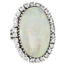 Large Opal Diamond Ring Vintage 14 Karat Gold Big Oval Cocktail Estate Fine Jewelry