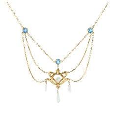 Antique Art Nouveau Drop Necklace Blue Sapphire Pearls 14 Karat Yellow Gold Vintage