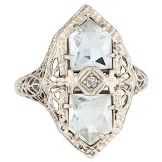 Antique Deco Aquamarine Diamond Ring 14 Karat White Gold Filigree Cocktail Jewelry