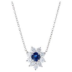 Tiffany & Co Victoria Sapphire Diamond Necklace Platinum Estate Fine Jewelry