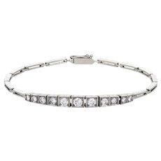 Antique Deco 1.15ct Diamond Bracelet 14 Karat White Gold Vintage Fine Jewelry Estate