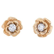 Diamond Stud Earrings Vintage 14 Karat Yellow Gold Rose Flower Jewelry Screw Backs