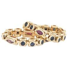 Vintage Flexible Band Ring Set of 2 Gemstone 18 Karat Yellow Gold Sz 5.75 Jewelry