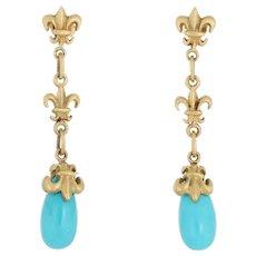 Turquoise Fleur de Lis Drop Earrings 18 Karat Gold Estate Fine Jewelry Long Dangle