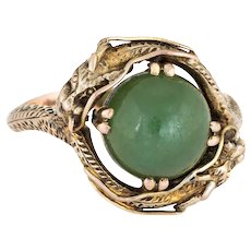 Vintage Double Dragon Ring 14 Karat Yellow Gold Green Jade Estate Fine Jewelry 7.5