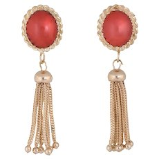 Red Coral Tassel Earrings 14 Karat Yellow Gold Fringe Drops Estate Fine Jewelry