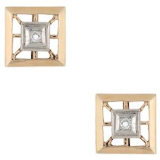 Vintage Diamond Stud Earrings Square 14 Karat Yellow Gold Estate Fine Jewelry