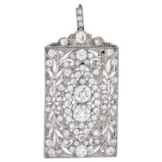 Antique Edwardian 3ct Diamond Pendant Brooch Platinum Vintage Fine Jewelry
