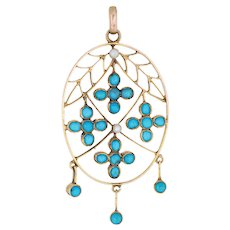Antique Victorian Pendant 15 Karat Yellow Gold Turquoise Seed Pearls Oval Fringe